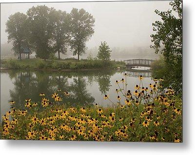 Misty Pond Bridge Reflection #3 Metal Print