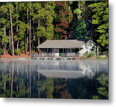 Metal Print featuring the photograph Misty Reflection At Durant by George Randy Bass