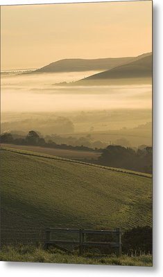 Misty South Downs Metal Print