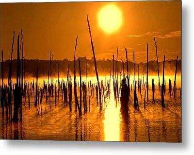 Misty Sunrise On The Reservoir Metal Print by Bob Cuthbert
