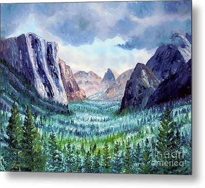 Misty Yosemite Valley Metal Print by Laura Iverson