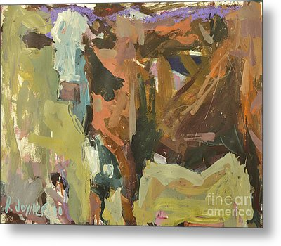 Metal Print featuring the painting Mixed Media Cow Painting by Robert Joyner