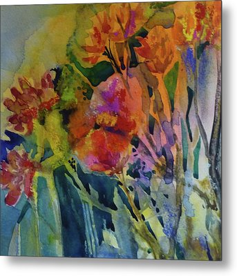 Mixed Media Flowers Metal Print by Donna Acheson-Juillet
