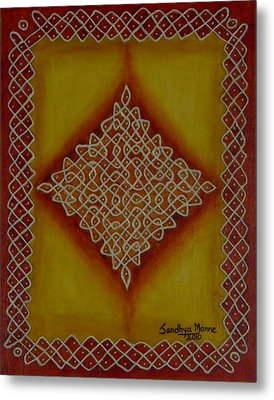 Mixed Media Kolam Four Metal Print by Sandhya Manne