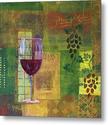 Mixed Media Painting Wine Metal Print
