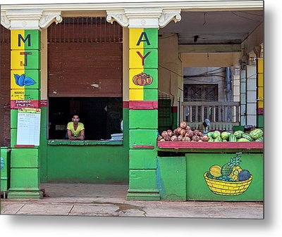 Metal Print featuring the photograph Mjay Fruit Stand Havana Cuba by Charles Harden