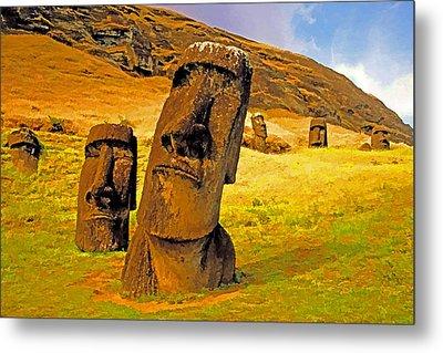 Moai Metal Print by Dennis Cox