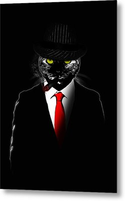 Mobster Cat Metal Print