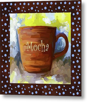 Mocha Coffee Cup With Blue Dots Metal Print by Jai Johnson