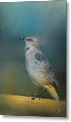 Mockingbird On A Windy Day Metal Print