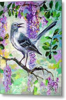 Mockingbird Song In Wisteria Metal Print by Ginette Callaway