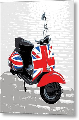 Mod Scooter Pop Art Metal Print by Michael Tompsett