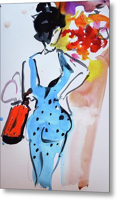 Model With Flowers And Red Handbag Metal Print