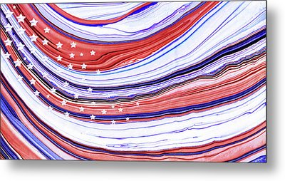 Modern American Flag - Red White And Blue - Sharon Cummings Metal Print