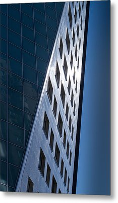 Blue Modern Apartment Building Metal Print by John Williams