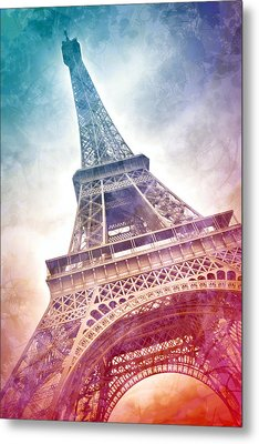 Modern-art Eiffel Tower 21 Metal Print by Melanie Viola