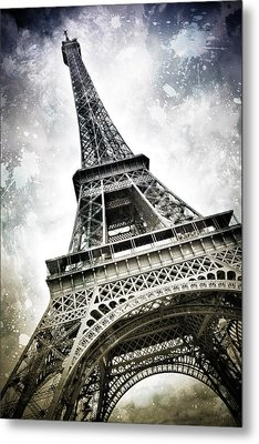 Modern-art Paris Eiffel Tower Splashes Metal Print by Melanie Viola
