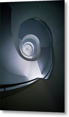 Metal Print featuring the photograph Modern Blue Spiral Staircase by Jaroslaw Blaminsky