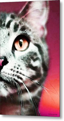 Modern Cat Art - Zebra Metal Print by Sharon Cummings