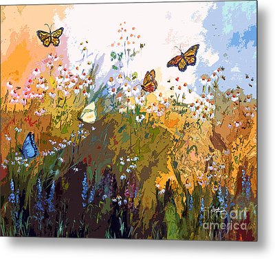 Modern Chamomille And Butterflies Metal Print by Ginette Callaway