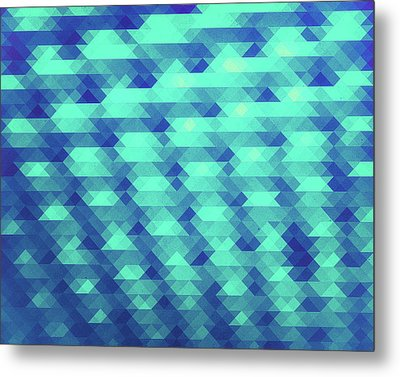 Modern Fashion Abstract Color Pattern In Blue   Green Metal Print
