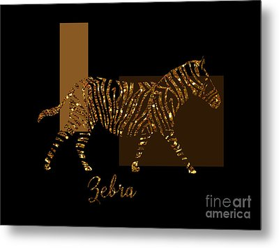 Modern Golden Zebra, Gold Black Brown Metal Print by Tina Lavoie