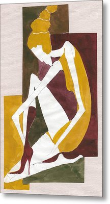 Metal Print featuring the painting Modern Greek Goddess by Maya Manolova