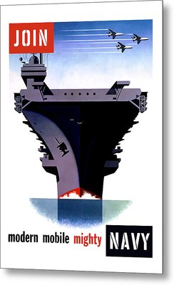 Modern Mobile Mighty Navy Metal Print by War Is Hell Store