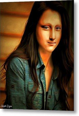 Modern Mona Lisa  - Rembrandt Style -  - Da Metal Print