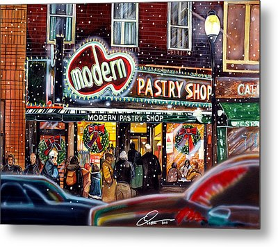 Modern Pastry Of Boston At Christmas Metal Print