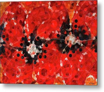 Modern Red Poppies - Sharon Cummings Metal Print by Sharon Cummings