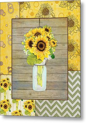 Modern Rustic Country Sunflowers In Mason Jar Metal Print by Audrey Jeanne Roberts