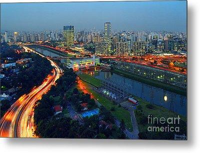 Modern Sao Paulo Skyline - Cidade Jardim And Marginal Pinheiros Metal Print
