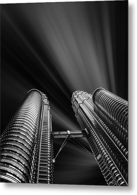 Modern Skyscraper Black And White Picture Metal Print by Stefano Senise