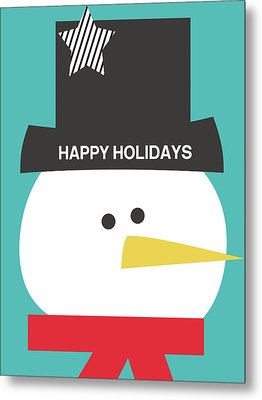 Modern Snowman Happy Holidays- Art By Linda Woods Metal Print by Linda Woods