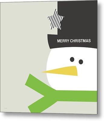 Modern Snowman Merry Christmas- Art By Linda Woods Metal Print by Linda Woods