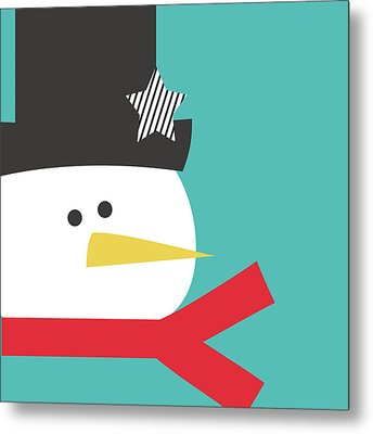 Modern Snowman With Star- Art By Linda Woods Metal Print by Linda Woods