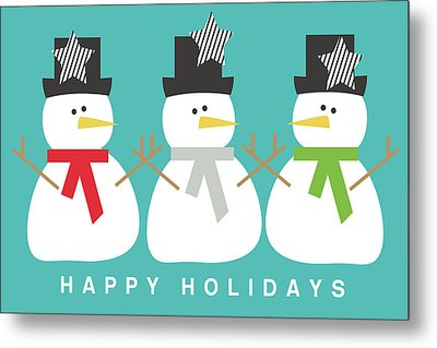 Modern Snowmen Happy Holidays- Art By Linda Woods Metal Print