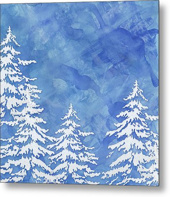 Modern Watercolor Winter Abstract - Snowy Trees Metal Print by Audrey Jeanne Roberts
