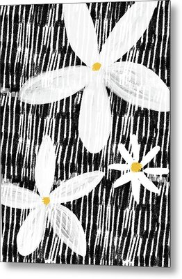 Metal Print featuring the mixed media Modern White Flowers- Art By Linda Woods by Linda Woods
