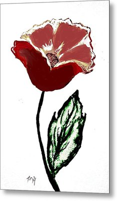 Metal Print featuring the drawing Modernized Flower by Marsha Heiken