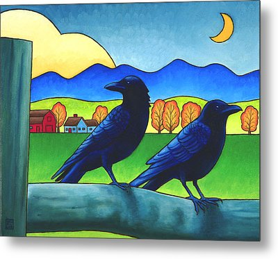 Moe And Joe Crow Metal Print by Stacey Neumiller