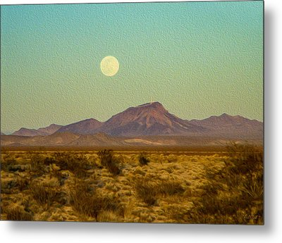 Mohave Desert Moon Metal Print