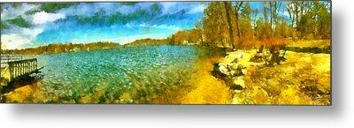 Metal Print featuring the painting Mohegan Lake Panoramic Beach by Derek Gedney