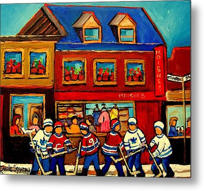 Moishes Steakhouse Hockey Practice Metal Print by Carole Spandau