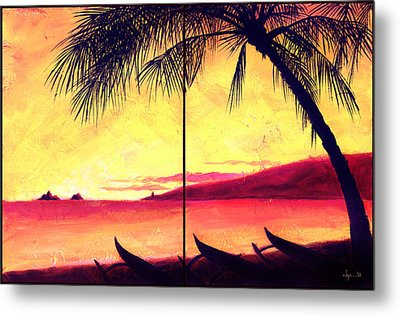 Metal Print featuring the painting Mokulua Sundown by Angela Treat Lyon