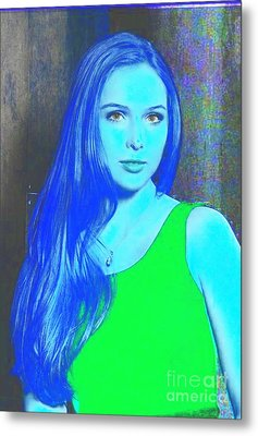 Molly Quinn Blue Abstract Metal Print