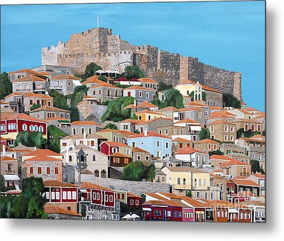 Metal Print featuring the painting Molyvos Lesvos Greece by Eric Kempson