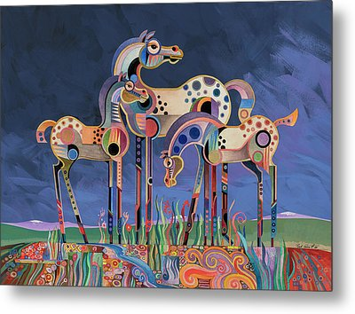 Metal Print featuring the painting Mom And Foals by Bob Coonts