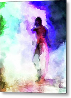 Moment In Blue - African Dancer Metal Print
